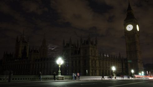 London's Houses of Parliament in darkness during Lights Out. Photograph: Tristan Fewings/Getty Images