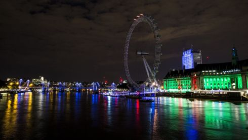 London bathed in colour as part of the first World War commemoration. Photograph: Tristan Fewings/Getty Images
