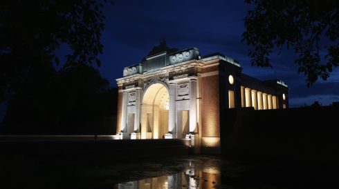 The Menin Gate Memorial to the Missing is illuminated before a symbolic Lights Out hour marking the outbreak of the first World War in Ypres, Belgium. Photograph: Christopher Furlong/Getty Images