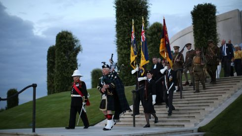Ceremonies proceed at the National Memorial Arboretum in England. Photograph: Dan Kitwood/Getty Images