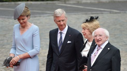President Michael D Higgins and his wife Sabina welcomed by King Philippe of Belgium (second left) and Queen Mathilde of Belgium (left) as they arrive at the Abbey of St Lawrence to attend the commemoration for the 100th anniversary of the outbreak of the first World War, in Liege, Belgium. Photograph: Stephanie Lecocq/EPA