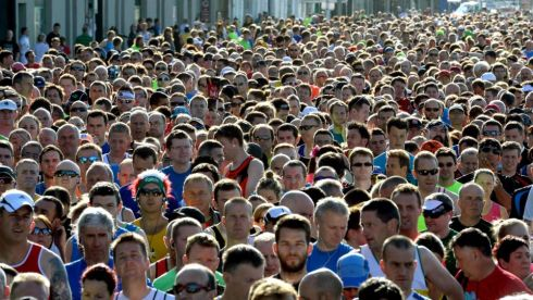The start of the Rock 'n' Roll Dublin Half Marathon, on Monday. Photograph: Dara Mac Donaill / The Irish Times   Photograph; Dara Mac Donaill / The Irish Times