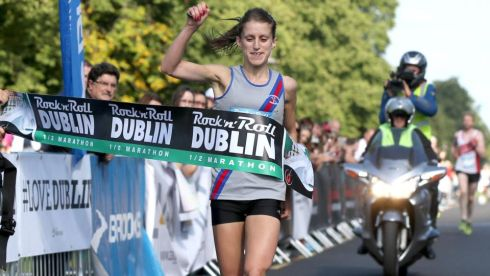 Race winner Sarah Mulligan Photograph: INPHO/James Crombie