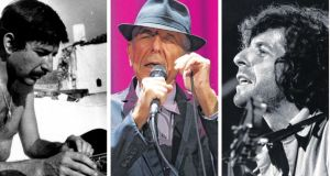 From left, Leonard Cohen working on the Greek island of Hydra; performing in Melbourne last year; and at the Isle of Wight festival in 1970. Photographs: from the book 'So Long Marianne: A Love Story'; Graham Denholm/Wireimage; Tony Russell/Redferns