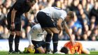 Spurs' Hugo Lloris lies unconscious after a collision against Everton last season – he persuaded physios to allow him to continue in the game. Photograph Chris Brunskill/Getty Images