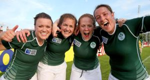 Ireland's Lynne Cantwell, Fiona Coghlan, Fiona Hayes and Gillian Bourke celebrate after defeating New Zealand. Photograph: Dan Sheridan/Inpho