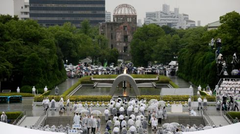 Overview of the memorial ceremonies in Hiroshima. Photograph: Kimimasa Mayama/EPA