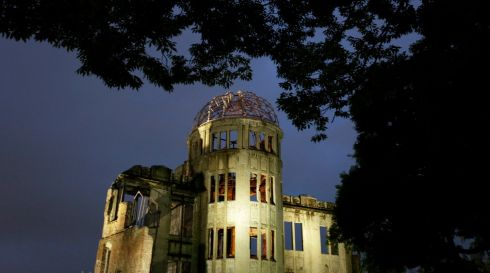 The Atomic Bomb Dome in Hiroshima as it appears today. It was left standing amid a devastated landscape of ruins after the bombing. Photograph: Kimimasa Mayama/EPA