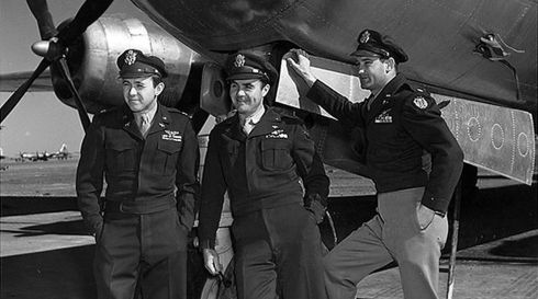The crew of the Enola Gay, from left, Capt Theodore Van Kirk, Col Paul Tibbets and Maj Thomas Ferebee, pose for a photograph after dropping the atomic bomb on Hiroshima on August 6th, 1945. They had landed in the Mariana Islands in the Pacific. Van Kirk, the navigator and last surviving crew member of the plane, died on July 28th, 2014, in Stone Mountain, Georgia, US. He was 93. Photograph: US Air Force/New York Times