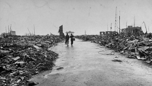 Hiroshima in ruins following the atomic bomb blast. Photograph: Bernard Hoffman/Time Life Pictures/Getty Images