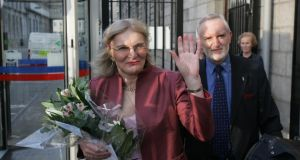 'Seven years on, Dr Lydia Foy and the Irish trans community are still waiting to be legally recognised.' Above, Dr Lydia Foy with solicitor Michael Farrell in 2007 outside the High Court in Dublin after the court ruled that the State is in breach of Article 8 of the European Convention on Human Rights. Photograph:  Frank Miller