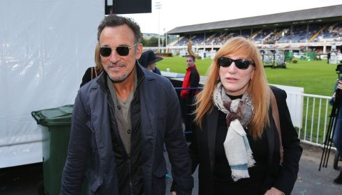 Bruce Springsteen, at the event to see daughter Jessica compete, with wife Patti Scialfa at the RDS. Photograph: Cathal Noonan/Inpho