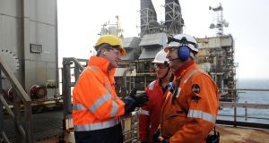 British prime minister David Cameron (left) talks with employees during a tour of the BP ETAP (Eastern Trough Area Project) oil platform in the North Sea, 100 miles east of Aberdeen, in February. The fate of North Sea oil revenues is a key issue ahead of the September 18th referendum to decide whether Scotland will end its 300-year-old union with England. Photograph: Andy Buchanan/Getty