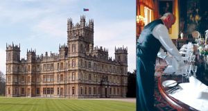 Left: Highclere Castle. Right: Table setting at Highclere