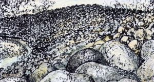 Shimmering stone: Carrowniskey beach before storms. Illustration: Michael Viney