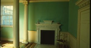 State bedroom painted in  historical green verditer