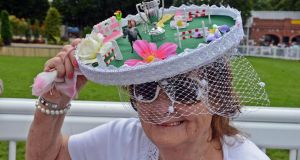 Philomena Cribbin from Straffan, Co Kildare, with her 'Aga Khan Cup Hat'. Photograph: Eric Luke / The Irish Times