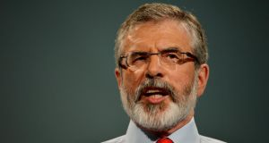 "The Sinn Féin president Gerry Adams has warned the power sharing Stormont administration is facing its most ""serious threat"" in recent years. Photograph: Alan Betson /The Irish Times"