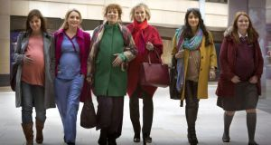 Bumps a-daisy: Jill Halfpenny, Christine Bottomley, Katherine Parkinson, Hermoine Norris, Taj Atwal and Hannah Midgley in In The Club.