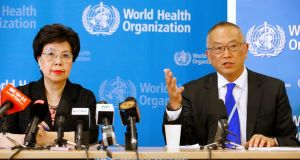 World Health Organisation director general Margaret Chan and Keiji Fukuda, the assistant director general for health security, address the media after Geneva meeting. Photograph: Pierre Albouy/Reuters
