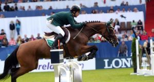 Cian O'Connor riding Quidam's Cherie in the Aga Khan today. Photograph: Cyril Byrne /The Irish Times