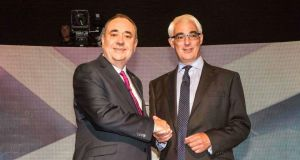 Alex Salmond (left) with Alistair Darling, at their television debate in Glasgow. Photograph: Reuters/Peter Devlin/STV