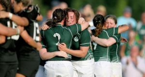 Ireland's Ailis Egan and Gillian Bourke celebrate after Tuesday's famous victory.  Photograph: Dan Sheridan/Inpho