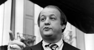 James Brady, selected by president-elect Ronald Reagan to become his press secretary, talking to reporters after the announcement was made in Washington in 1981. Photograph: Walt Zebowski/AP Photo