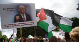 Minister for Foreign Affairs Charlie Flanagan was criticised at a protest in Dublin today for not expelling the Israeli ambassador to Ireland, Boaz Modai. Photograph: Dara Mac Dónaill/The Irish Times.
