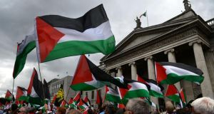 Protestors calling for an end to violence in Gaza marched from The Spire on O'Connell Street in  Dublin to the Israeli Embassy today. Photograph: Dara Mac Dónaill/The Irish Times.