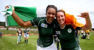 Ireland's Sophie Spence and Gillian Bourke celebrate the win over Kazakhstan. Photograph: Dan Sheridan/Inpho