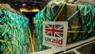 Humanitarian aid being loaded onto a RAF Hercules C130 at RAF Brize Norton in the UK for Iraq, as a British military aircraft made the first airdrop of humanitarian aid in Iraq. Photograph: PA