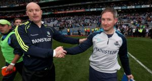 Monaghan boss Malachy O'Rourke shakes hands with Dublin manager Jim Gavin at the end of the game at Croke Park. Photo: Donall Farmer/Inpho