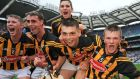 Klkenny's Conor Browne, Tommy Walsh, Donnacha O'Connor and Pat Lyng celebrate victory over Waterford at Croke Park. Photo: Tommy Grealy/Inpho