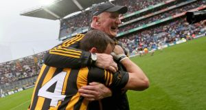 Kilkenny manager Brian Cody and Jackie Tyrell celebrate at the end of the All-Ireland hurling semi-final at  Croke Park. Photograph: Inpho
