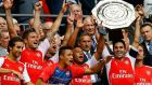 Arsenal's Arteta lifts the Community Shield after a 3-0 victory over Manchester City. Photograph: Reuters