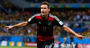 Germany striker Miroslav Klose celebrating after scoring a goal during the World Cup semi-final win over Brazil  in Belo Horizonte.  Photograph: Marcos Brindicci/Reuters