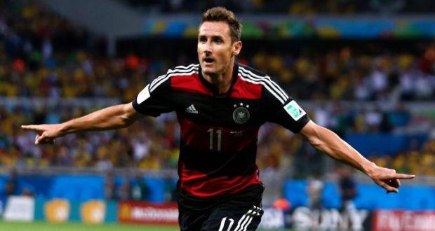 bad97af971a Germany striker Miroslav Klose celebrating after scoring a goal during the World  Cup semi-final