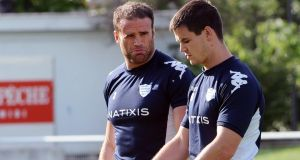 Jamie Roberts with Racing Metro team-mate   Jonathan Sexton during a training session in Toulouse. Photograph: Remy Gabalda/AFP/Getty Images
