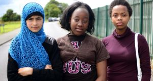 From left, Natasha, Minahil and Yolanda who live in Athlone Direct Provision Centre at Lissywollen, just outside the town. They were among those interviewed for The Irish Times series Lives in Limbo. Photograph: Bryan O'Brien / THE IRISH TIMES