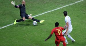 United States goalkeeper Tim Howard saves a shot from Belgium striker  Romelu Lukaku during the  World Cup  round of 16 match   at the Arena Fonte Nova in Salvador. Photograph: Ali Haider/EPA