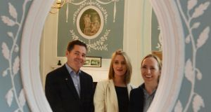At the Parnell Summer School in Avondale, Co Wicklow, yesterday were Minister Paschal Donohoe with fellow speakers Cllr Kate Feeney (left) and Heather Jones, associate professor of international history at the London School of Economics. Photograph: Cyril Byrne.