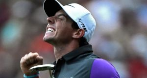 Rory McIlroy  reacts after winning the 96th US PGA Championship at the Valhalla Golf Club in Louisville, Kentucky. Photograph: EPA