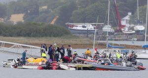 Rescue services in Killyleagh where a major incident was declared after a large number of boats capsized in stormy seas during the GP14 world championships. Photograph: Presseye