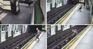 British Transport Police handout CCTV images of a child in a buggy being blown on to Tube tracks at Goodge Street station on the evening. Photograph: BTP/PA Wire