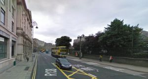 File photograph of College Street where a  garda on traffic duty was injured t when he was struck by a car going the wrong direction. Photograph: Google Street View