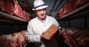 Peter Hannan of Hannan Meats, winner of seven three-star golds at the Great Taste awards, with his Himalayan salt-aged beef