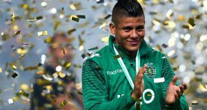 Manchester United are lining up a move for  Sporting Lisbon defender Marcos Rojo. Photograph:   Jose Sena Goulao/EPA