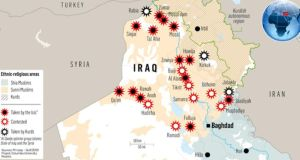 Graphic showing the extent of locations seized by Islamic State in Iraq in recent months. Graphic: Irish Times Premedia/Reuters