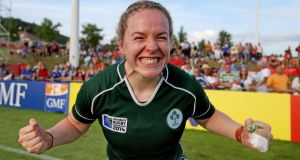 2014 Women's Rugby World Cup Pool B, FFR Headquarters, Marcoussis, Paris, France 5/8/2014Ireland vs New ZealandIreland's Niamh Briggs celebrates after the gameMandatory Credit ©INPHO/Dan Sheridan